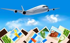 Обои открытка, путешествие, самолет