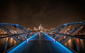 Обои город, мост, Лондон, подсветка, ночь