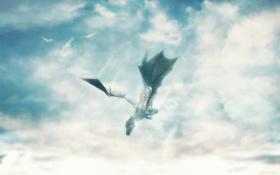 Картинка небо, облака, дракон, полёт