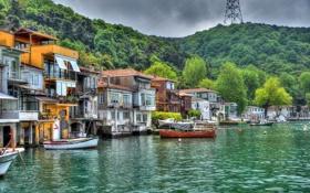 Обои небо, Турция, Стамбул, Istanbul, море, Anadolu Kavagi, деревья