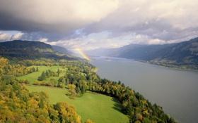 Картинка деревья, горы, тучи, природа, радуга, речка