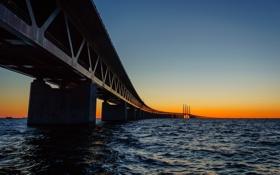 Картинка закат, мост, Sweden, Bunkeflostrand, Skane, Øresund Bridge