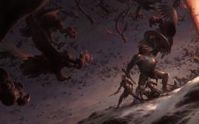 Картинка снег, оружие, крылья, войны, склон, арт, монстры