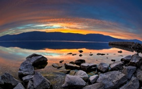Картинка sunset, water, lake, rocks