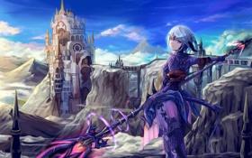 Картинка девушка, оружие, замок, магия, аниме, арт, final fantasy