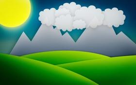 Обои трава, солнце, горы, тучи