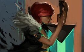 Картинка девушка, меч, арт, профиль, Transistor