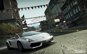 Обои дорога, улица, Lamborghini, World, Gallardo, флажки, Need for speed