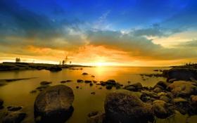 Обои облака, небо, берег, пейзаж, камни