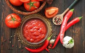 Обои перец, помидоры, соус, томаты, кетчуп, специи, чеснок