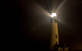Картинка свет, ночь, дом, дождь, маяк, башня, ливень