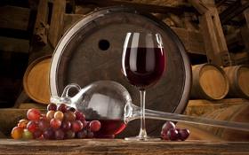 Обои grape, красное, вино, бочки, wine, виноград