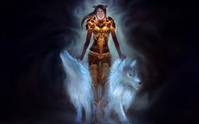 Обои девушка, темный фон, арт, рога, волки, броня, цепи