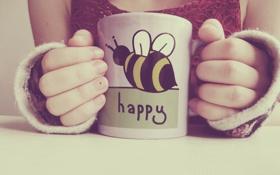 Обои счастье, текст, надпись, руки, кружка, чашка, пальцы