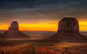 Картинка пустыня, Аризона, USA, США, Arizona, долина монументов, рано утром