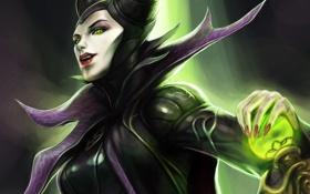 Обои девушка, магия, арт, посох, сфера, Maleficent, Малефисента