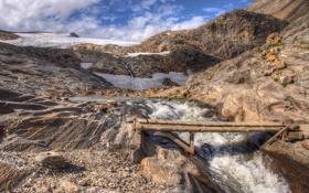 Картинка ледник, облака, река, небо, мостик, горы, камни
