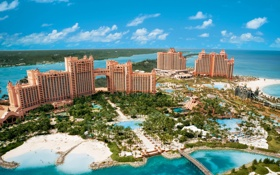 Обои море, пляж, Atlantis, остров, отель, hotel, Bahamas