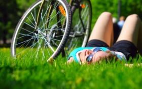 Обои лето, девушка, bike