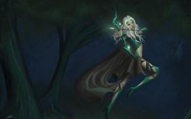 Обои лес, девушка, оружие, прыжок, лук, арт, league of legends