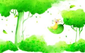 Обои трава, улыбка, дерево, листва, позитив, гном, колпак