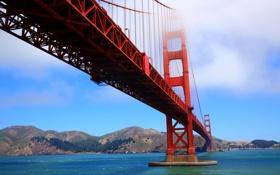 Картинка море, небо, облака, горы, мост, опора, Сан-Франциско