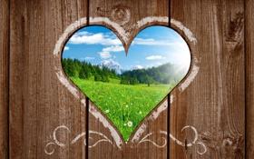 Обои пейзаж, горы, поляна, сердце, забор, вид, деревянный