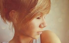 Картинка лицо, голова, нос, блондинка, губы, маечка, симпатичная