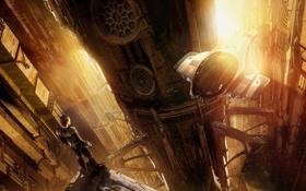 Обои будущее, человек, небоскребы, космический корабль, Future