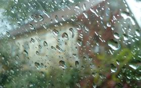 Картинка стекло, вода, капли, город, дождь
