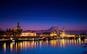 Картинка река, Dresden, дворцы, ночь, огни, Германия, дома