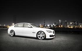 Обои белый, ночь, город, бмв, BMW, white, небоскрёбы