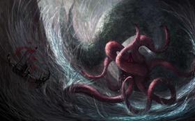 Картинка море, шторм, опасность, корабль, парусник, монстр, арт