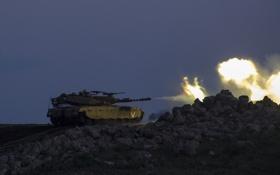 Обои огонь, выстрел, танк, боевой, Merkava, Израиля, Mk 3