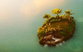 Обои landscape, Остров, tilt-shift, вода, пальмы