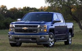 Обои синий, Chevrolet, Шевроле, пикап, передок, Crew Cab, Silverado
