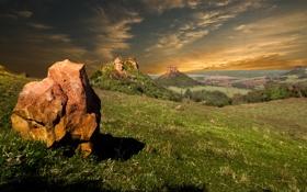 Картинка небо, камни, долина
