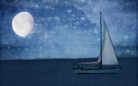 Картинка ночь, луна, лодка