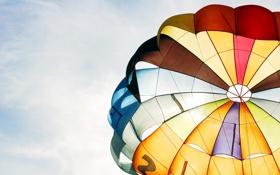 Обои небо, фото, полет, настроение, парашют, цвета, обои