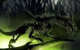 Обои art, dragon, skeleton