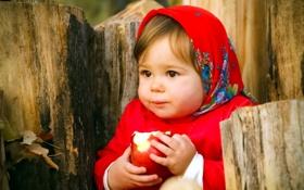 Обои настроение, яблоко, девочка