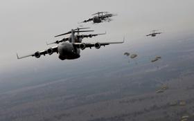 Картинка небо, десант, AC-130, Lockheed, самолет поддержки