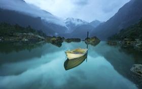 Картинка горы, природа, озеро, отражение, лодка