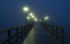 Картинка огни, туман, утро, причал, фонари