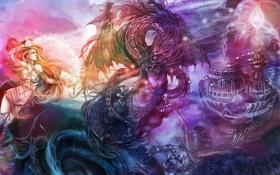 Картинка энергия, магия, дракон, механизм, Девушка, существо, сферы