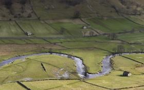 Картинка река, поля, овцы, тень, england, yorkshire