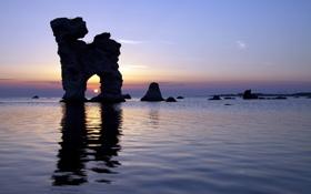 Картинка море, закат, скалы, арка, морской пейзаж