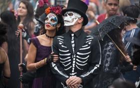 Обои череп, кадр, шляпа, скелет, агент, карнавал, маски