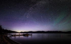 Картинка небо, звезды, деревья, пейзаж, огни, озеро, берег
