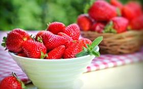 Обои ягоды, клубника, красные, миска, fresh, спелая, strawberry